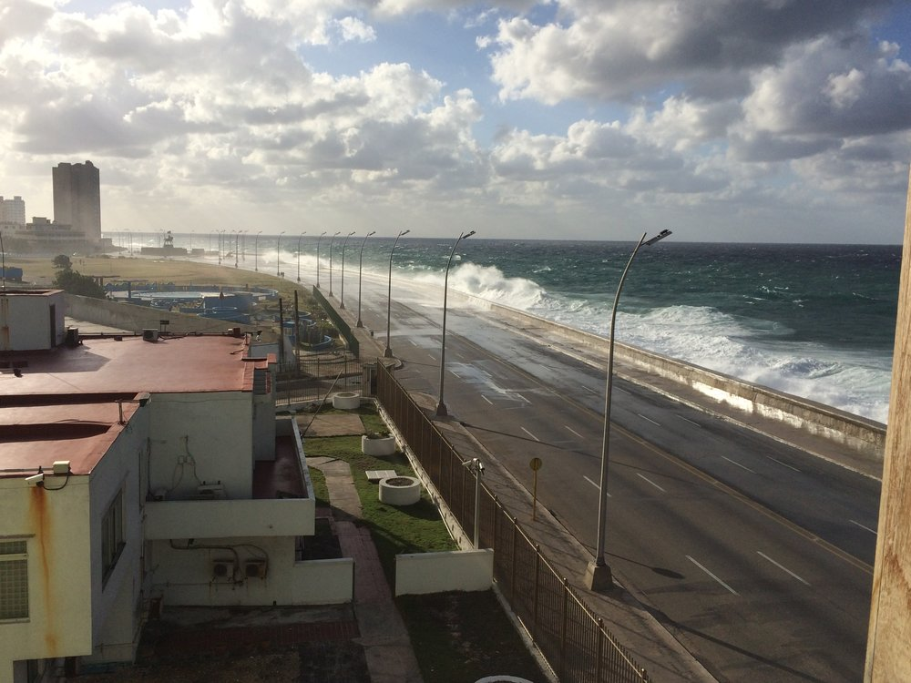 View from Casa Privada in Habana - This is the Malecon on a blustery day!