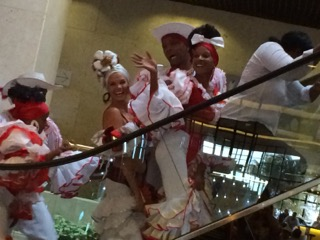 Dancing on the escalator in Melia Cohiba, Habana