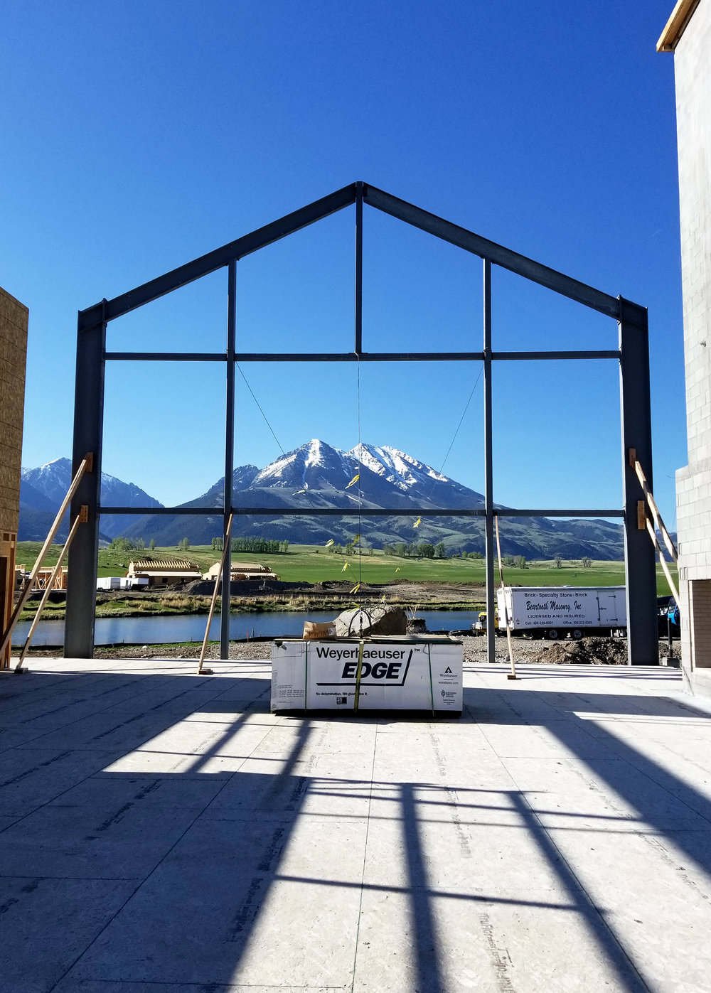 Views of Emigrant Peak from the interior of Sage Lodge.