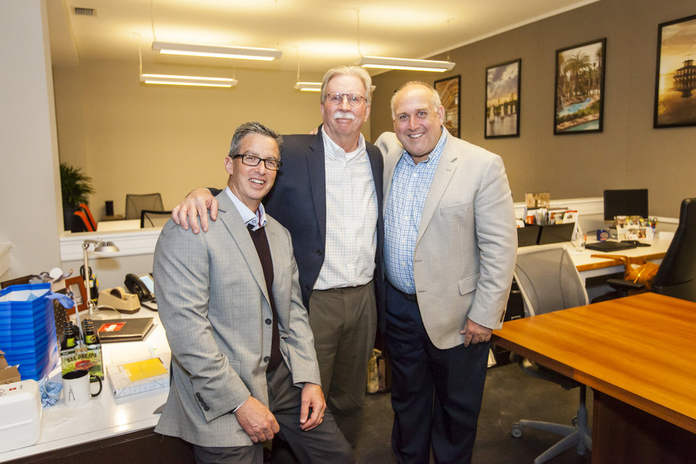 ELM Partners Russ Ervin, Tim Miller, and Steve Lovett at Miller's retirement celebration in March.
