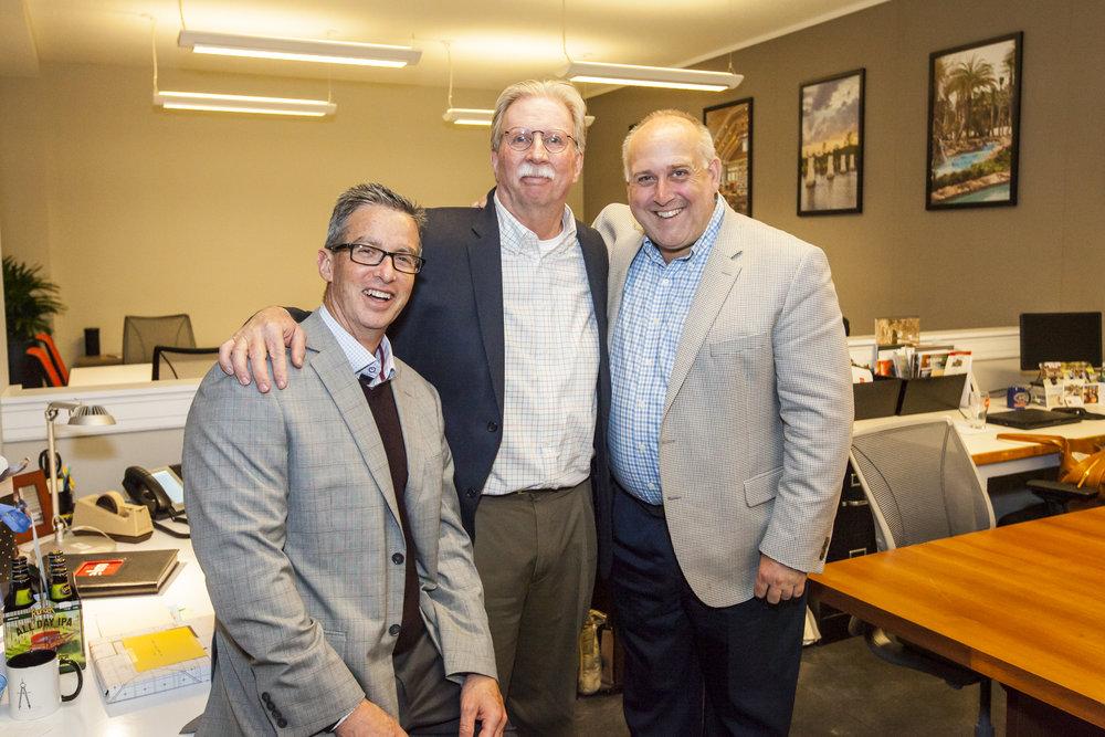 Russ Ervin, Tim Miller and Steve Lovett at Tim's retirement celebration in 2018.
