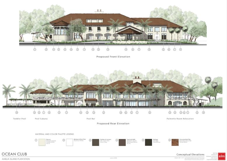 Front and Rear elevations of the proposed Amelia Island Club Ocean Clubhouse