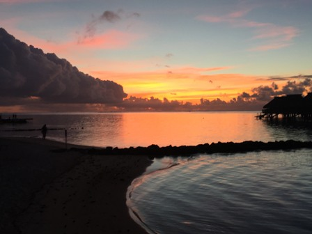Sunset at the Hilton Moorea Lagoon Resort