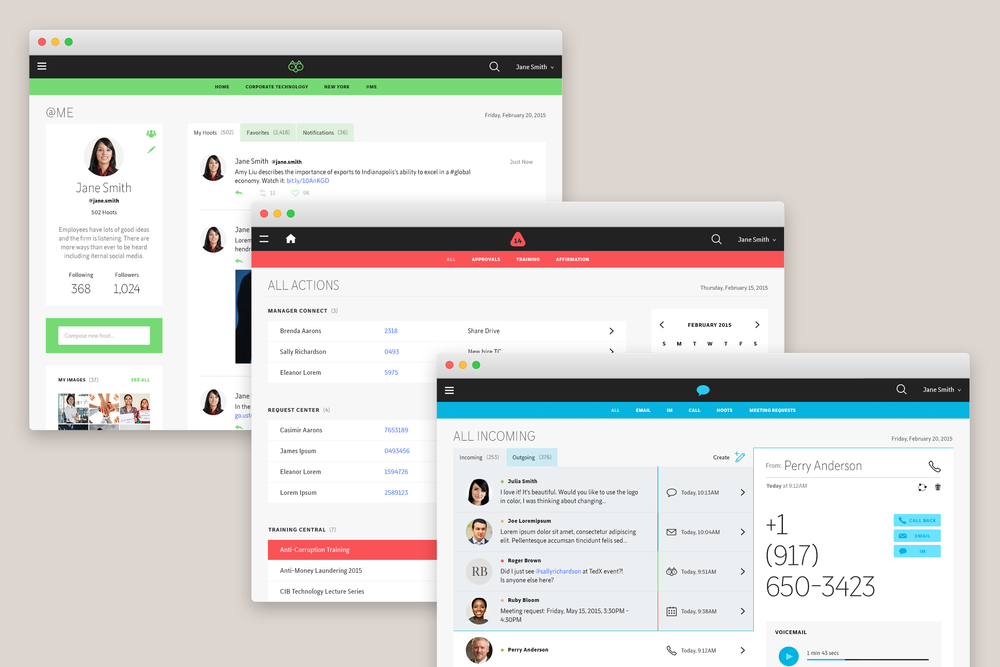 Hoots ,  Actions  and  Connect  are internal communication platforms created to help employees stay updated, organized and connected.