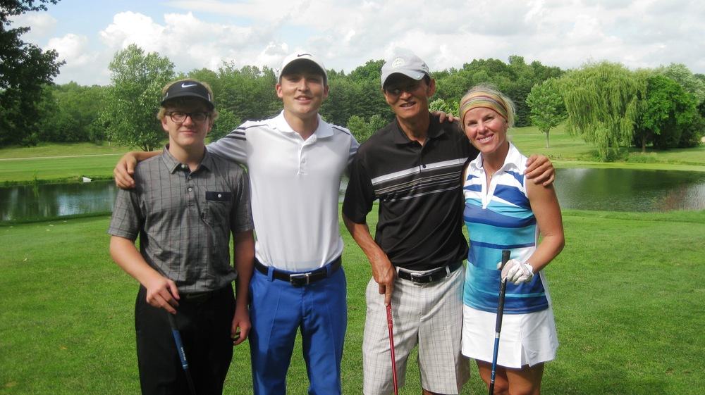 Gunnar, Tucker, Jim and Candace - show off their serious golf skills