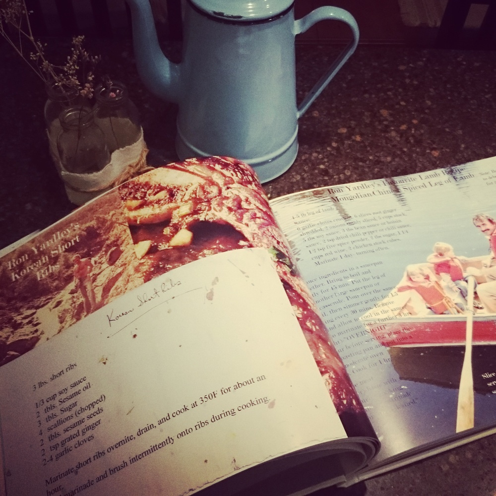 One of My Dad's pages in the family cookbook created by my husband and I. Dad'sKorean Short Ribs recipe and his favourite lamb recipe