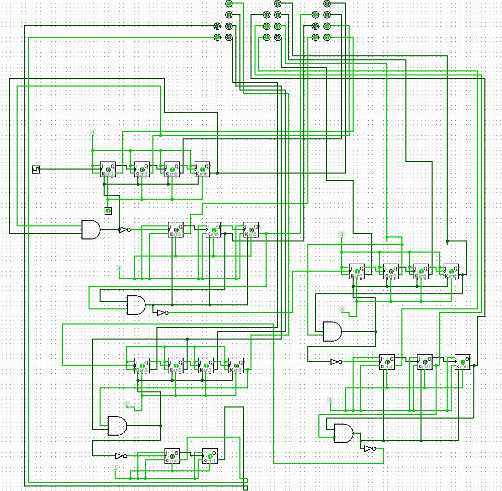 Logisim Binary Clock built from JK flip flops