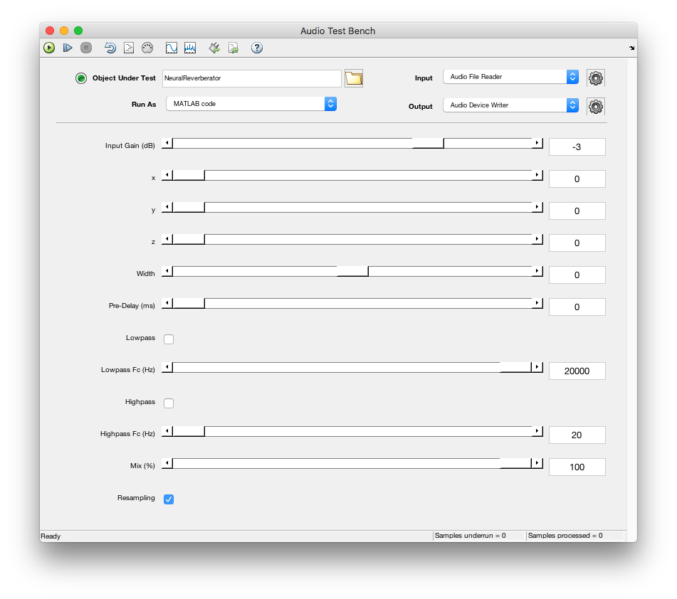 Plug-in running as MATLAB code in the audioTestBench.