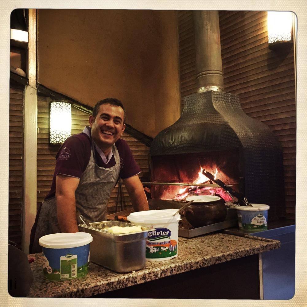 Smiley chefat the fabulous grill houseHunkar Ocakbasi