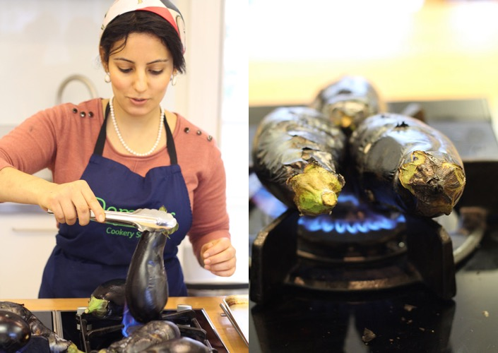 Batool helps to flame-roast the aubergines (photo: Rachel Demuth)