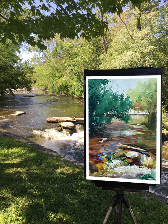 "On Location ""A River Runs Through Cedarburg"" Watercolor 13 x 20"