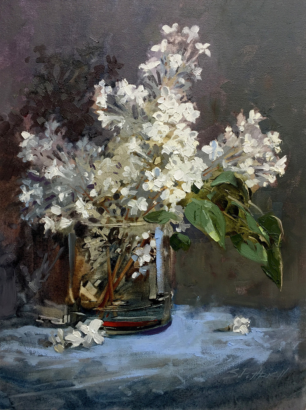 "Title: Lilacs in a Glass In the final days of Édouard Manet's life, he was homebound with illness. Friends would bring him fresh flowers as gifts. He would in turn paint these flowers in various still life's in glass vases This is my ode to Édouard Manet's and his flowers. Medium: Oil on Canvas Size: 12"" x 16"" Status: Dry and ready for your frame."