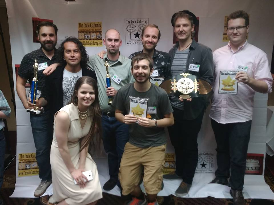 The winners of the film scoring competition with festival host Kristina Michelle
