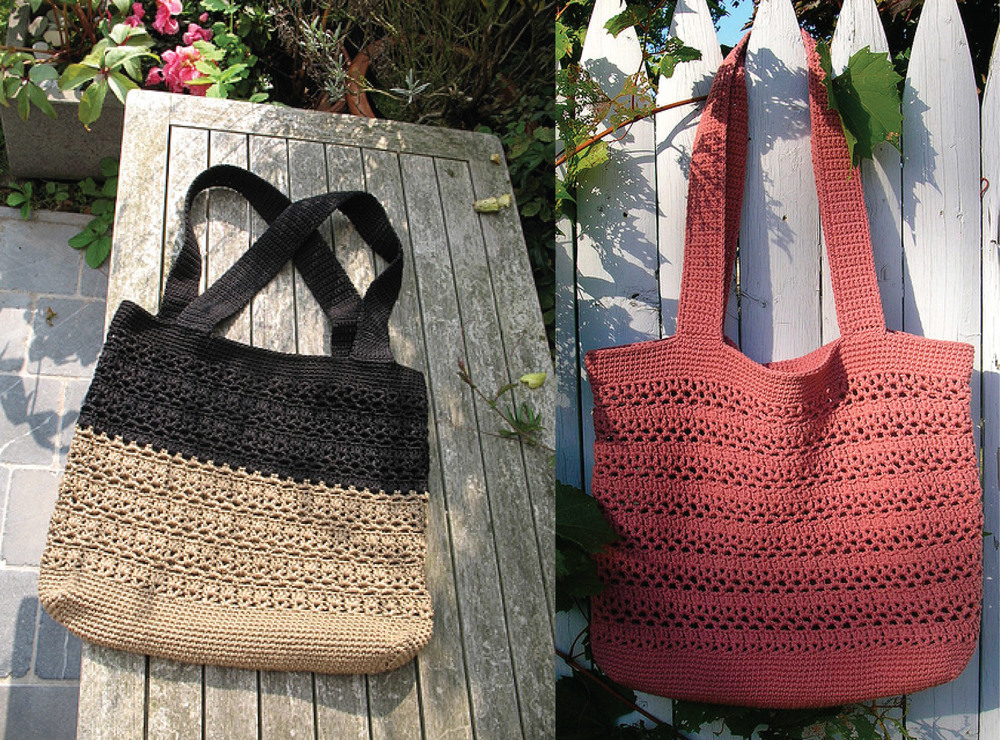 "On the left, the ""Lucy V Shoppingbag"" I saw on Pinterest. On the right, the cover photo for Cathy Phillip's free Lacy V Shopping Bag pattern."