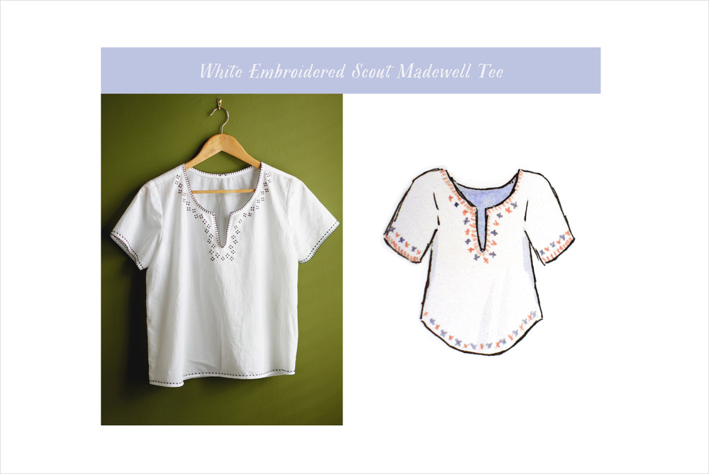 Acanthus House | White Embroidered Scout Tee Madewell Variation