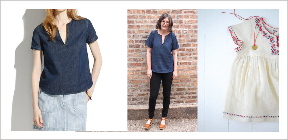 Left to right: the Madewell tee that launched a thousand spin-offs; Grainline Studio's copycat version based on the Scout Tee; child's dress from Parisian clothier, Bonpoint, photographed by French Blogger Ann-Claire Ruhl.