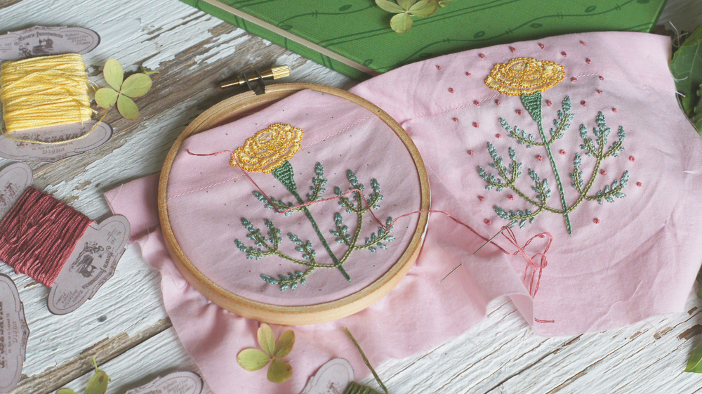 Acanthus House | Working the Marigold Embroidery