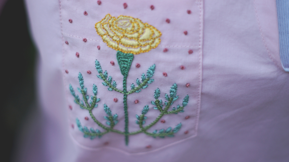 Acanthus House | Marigold Embroidered Pocket Close-Up
