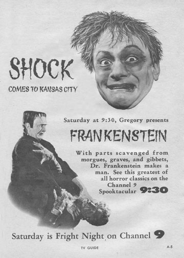 "Gregory Grave aka Harvey Brunswick  ""Shock Theatre""  KMBC 9 Kansas City, MO.  1958-1963?"