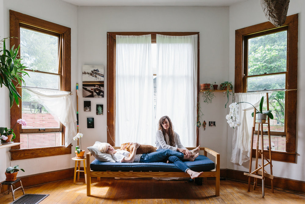 A portrait of Audim Culver and Ivy Siosi in their home in Bloomington, Indiana for Lonny Mag.