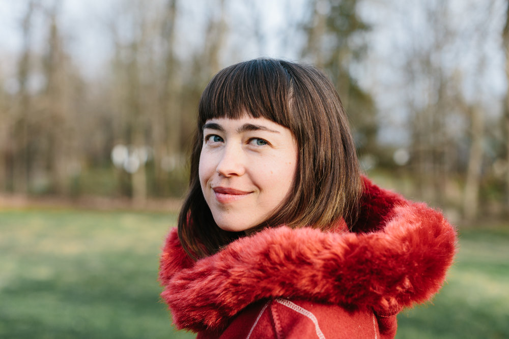 A portrait of Amy O in Bloomington, Indiana for the cover of her record, Lavender Night out on Winspear.