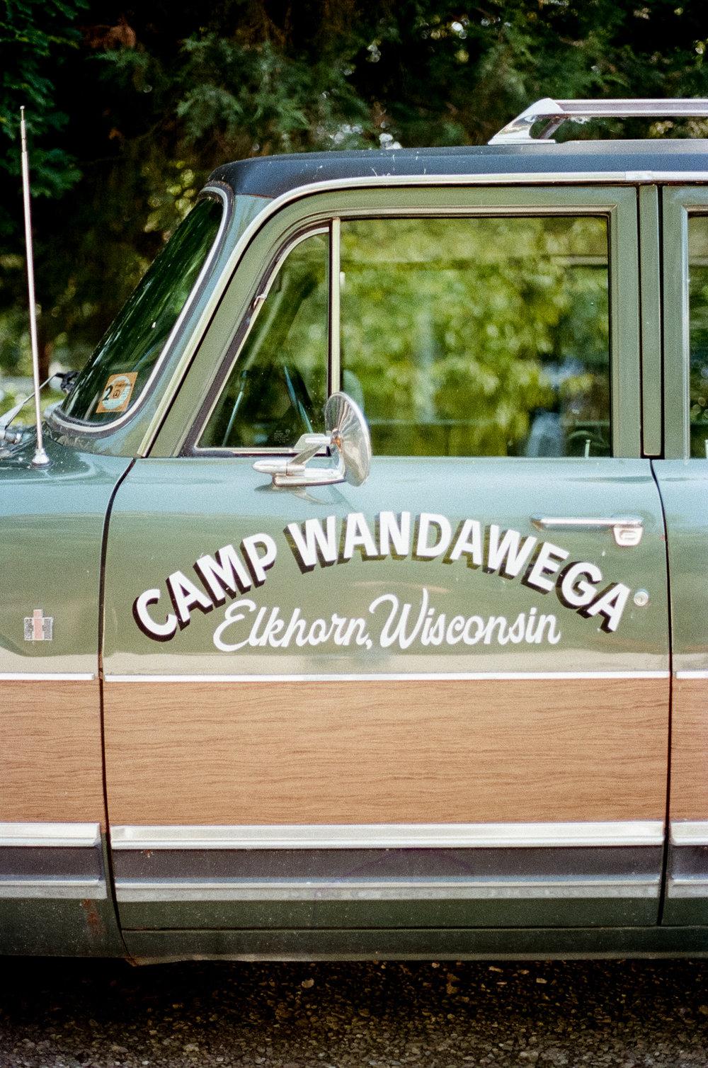 A photo of the Camp Wandawega car at  Camp Wandawega  in Elkhorn, Wisconsin during Let's Camp 2018 photographed for  Driftless magazine  and hosted by  The Glossary  and  Feminest .