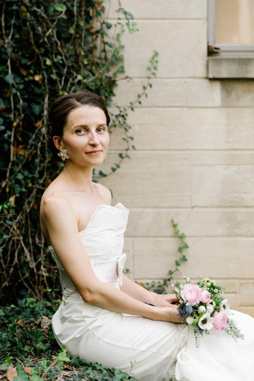 A portrait of Anna on her wedding day at Indiana University in Bloomington, Indiana.