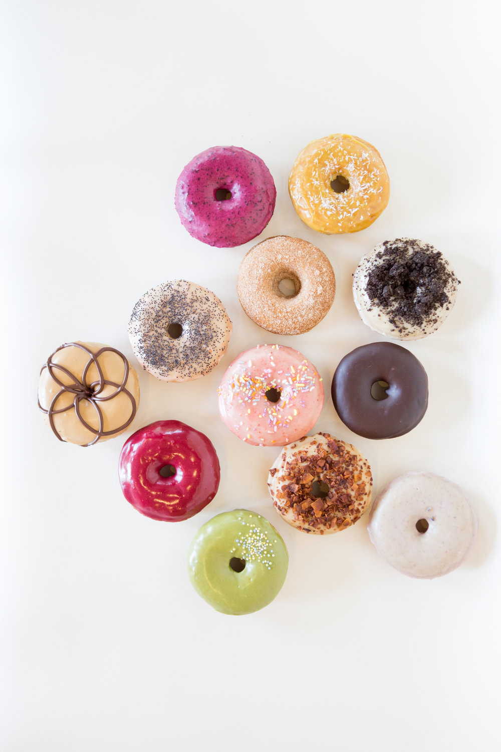 Food photography of vegan donuts for Rainbow Bakery, a vegan bakery in Bloomington, Indiana.