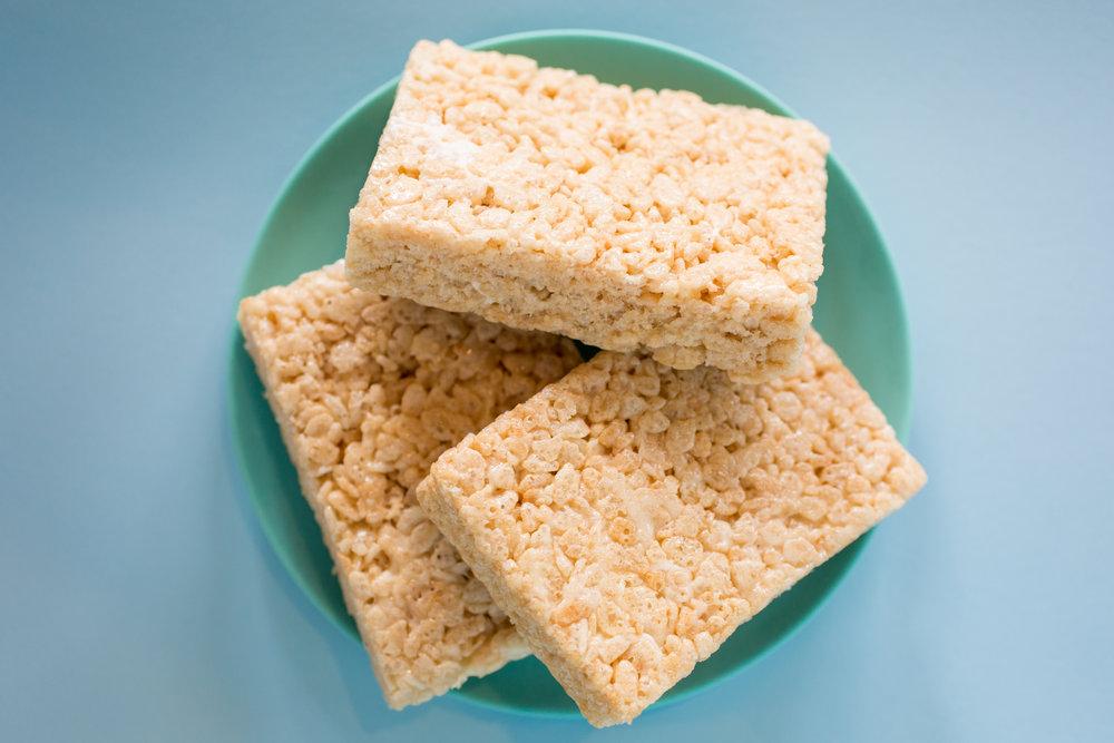 Food photography of vegan rice krispie treats for Rainbow Bakery, a vegan bakery in Bloomington, Indiana.