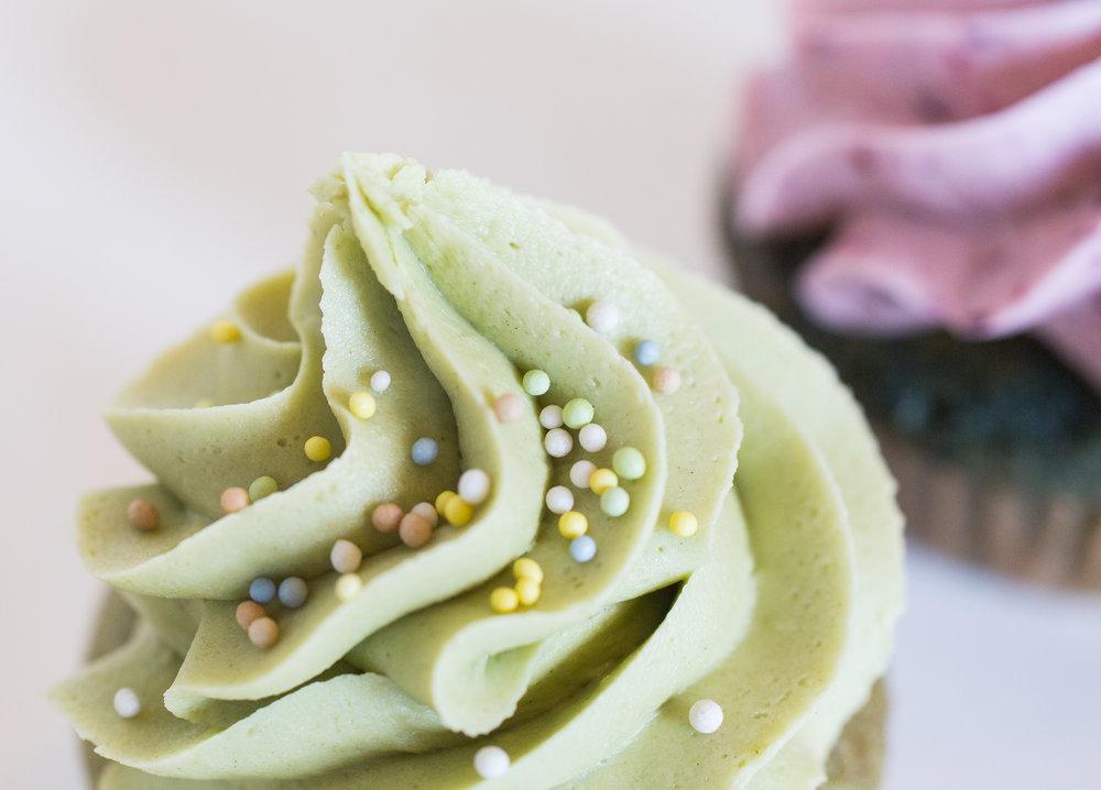 Food photography of vegan cupcakes for Rainbow Bakery, a vegan bakery in Bloomington, Indiana.