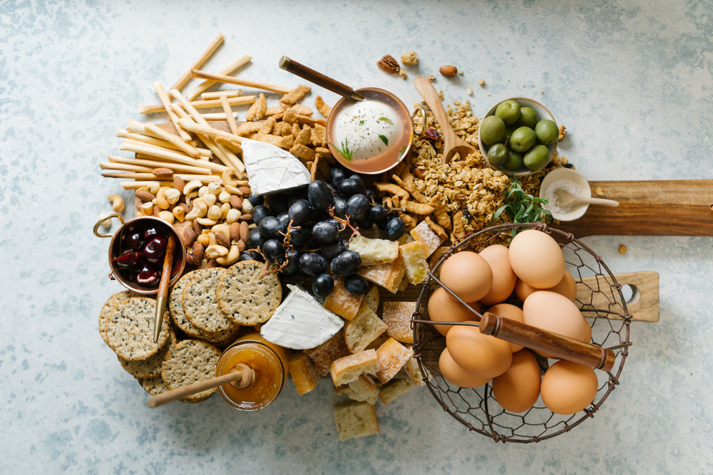 An editorial food photograph for  Vegetarian 'Ventures'  cookbook Platters and Boards.