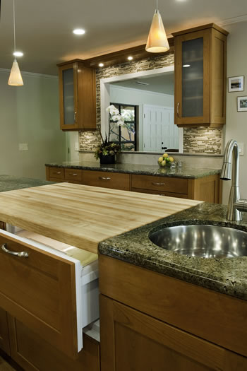 Integrated appliances enhance the function of this kitchen.