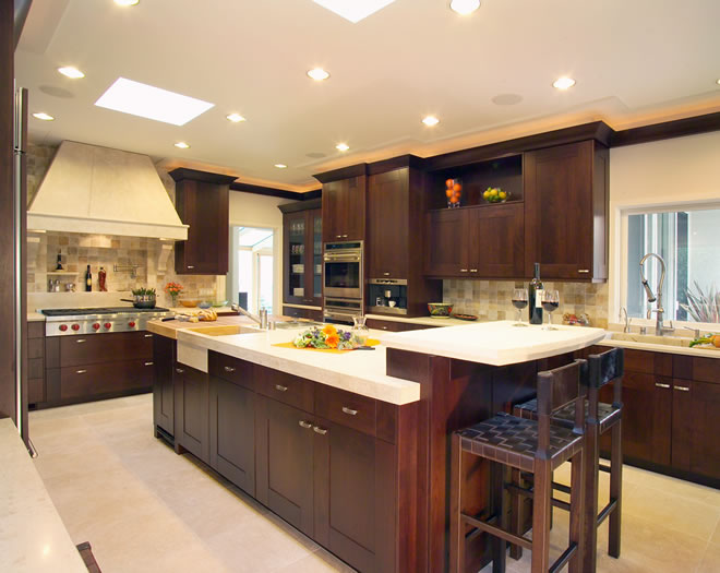 This large kitchen has multiple work stations to service a variety of functions.