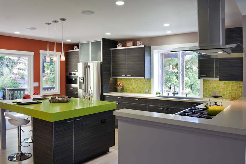 Colorful contrasts and metal accents make this kitchen pop.