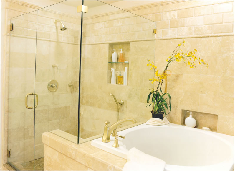 Marble tile details make this room feel like a spa.