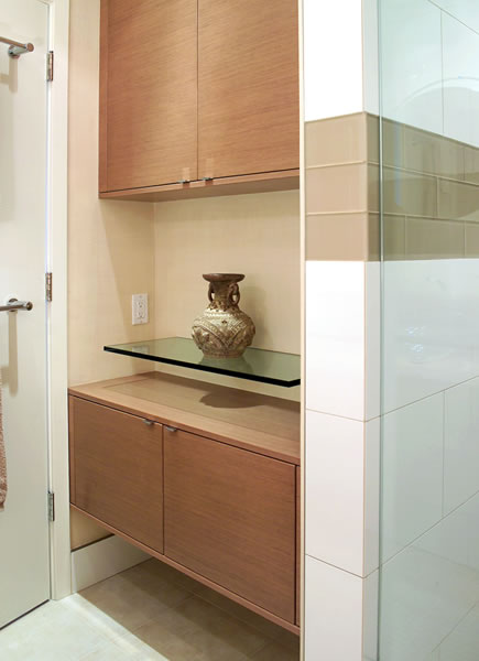 A matching storage and display area.