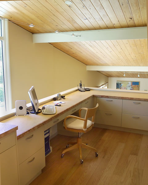 A loft office with heated marble counter.