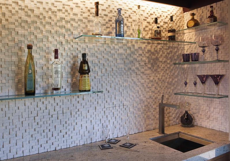 A modern wet bar.