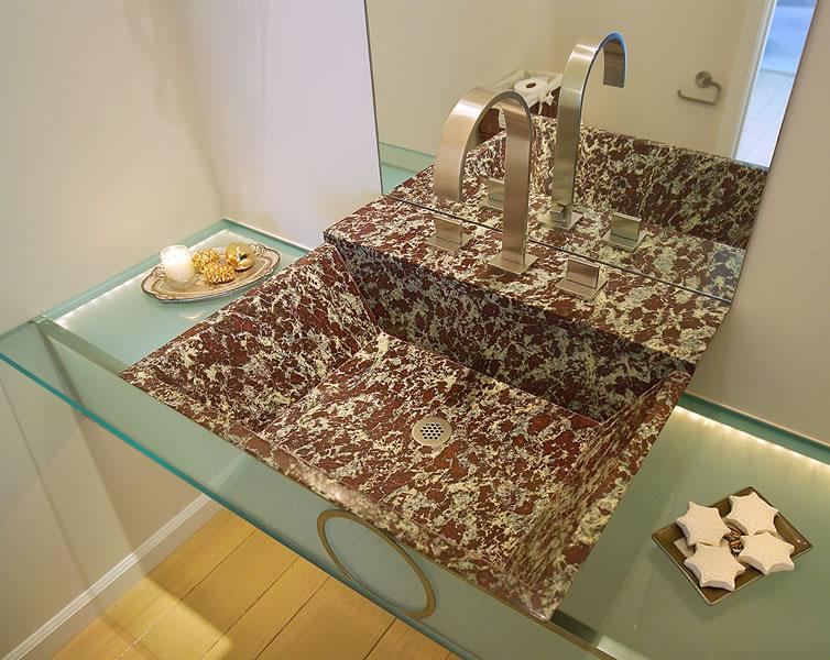 Marble powder room sink.