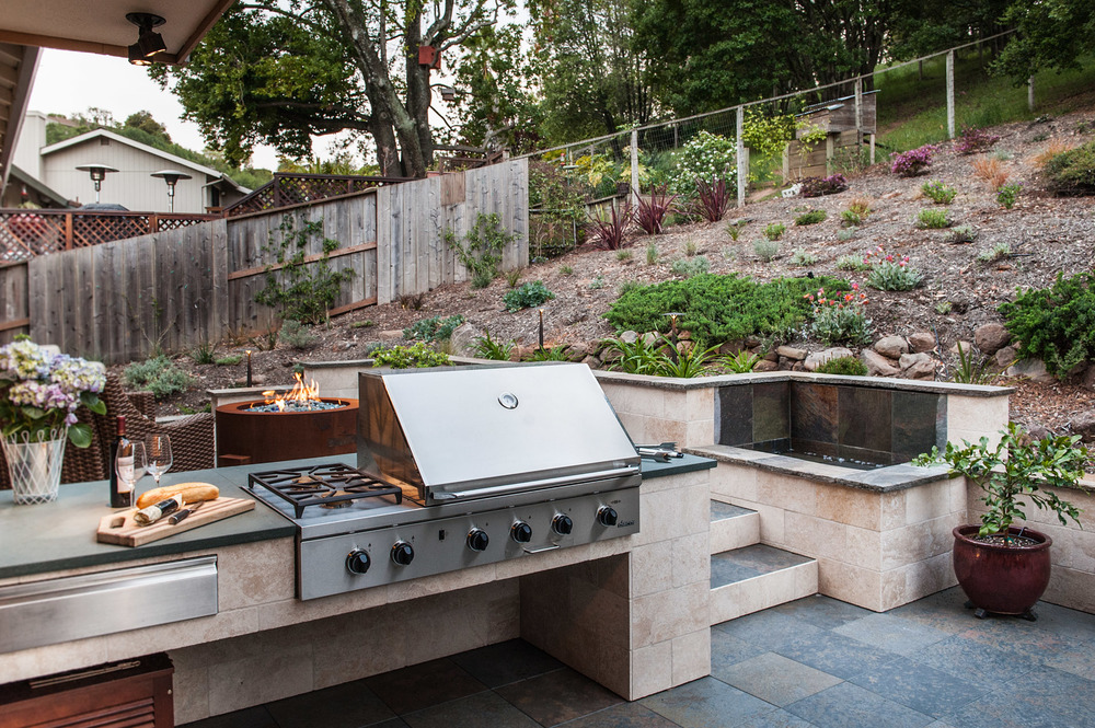 Enjoy the babbling water feature while cooking.