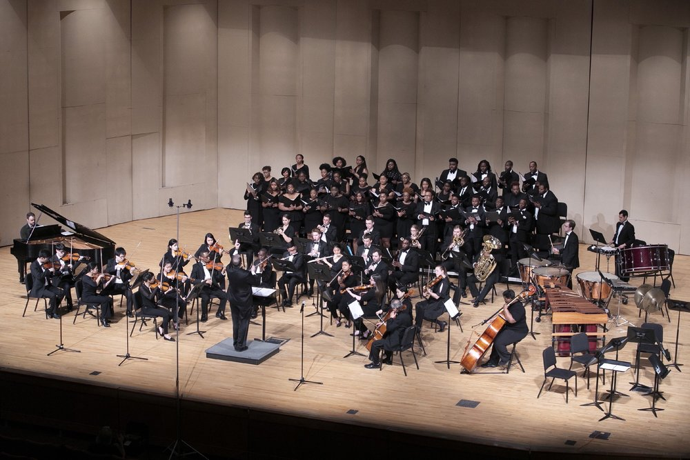 Symphony Number One performs with Morgan State University choir members in May 2018.