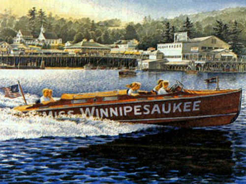 "The painting above, "" Another Summer "" by Alton, NH artist  Peter Ferber , depicts the Weirs Beach waterfront in the late 40's/early 50's"
