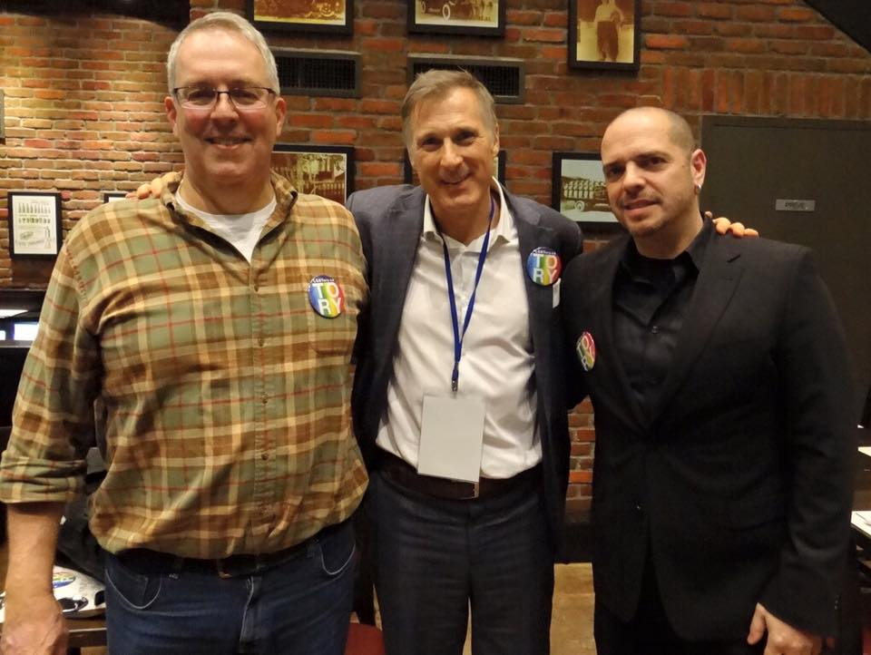 LGBTory pub night, March 4, 2016, Ottawa.From left to right, Eric Lorenzen, Maxime Bernier, PC, MP, and Todd Langis.