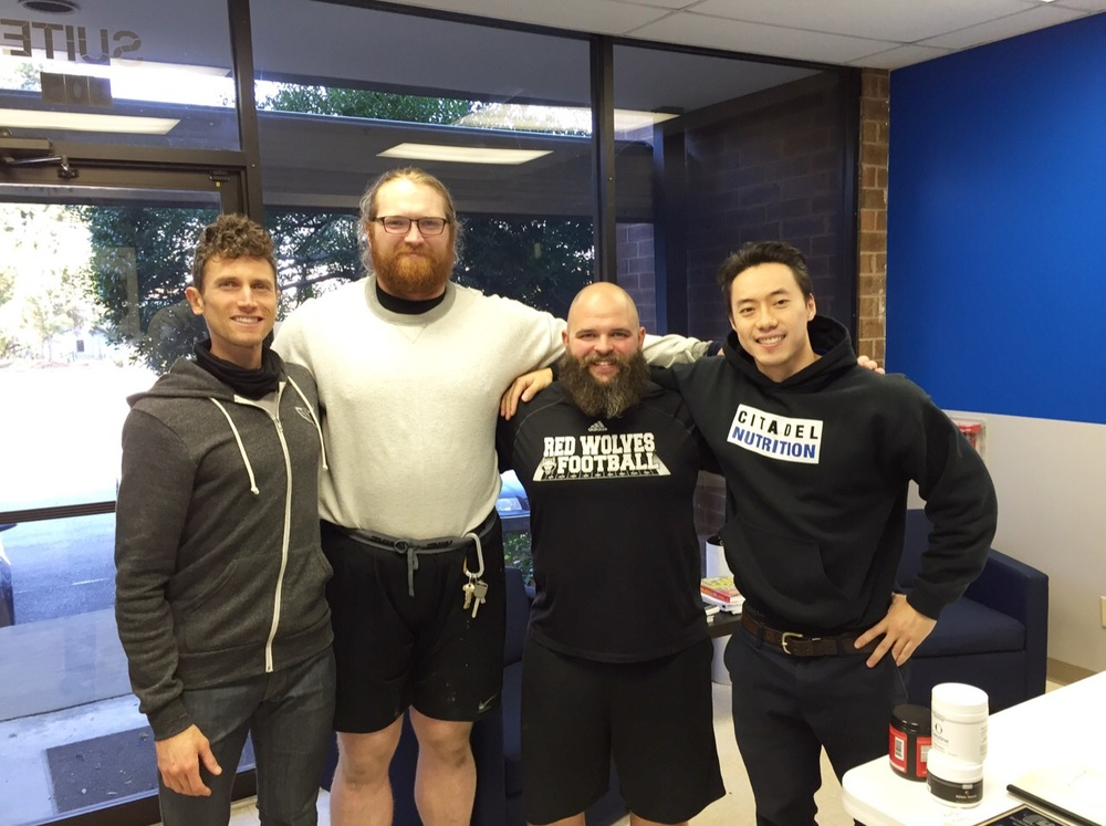 Devin Vernick, GSU Strength and Conditioning. Jacob Lonowski, GSU Strength and Conditioning. Joseph Boyd, Head Strength and Conditoning at UWA. Daniel Yeh, Citadel Nutrition.