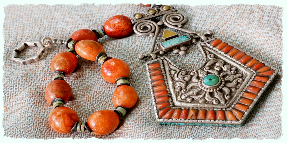 Mexican coral and Turkish turquoise pendant necklace
