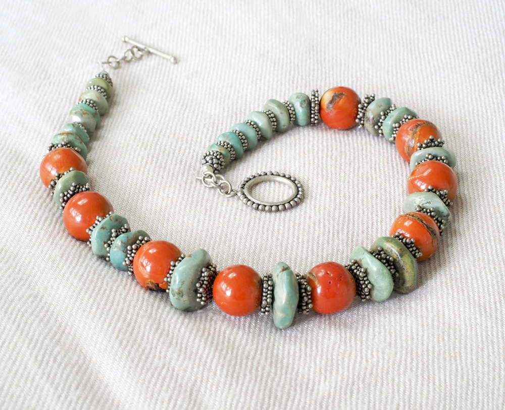 0a507390bccd7f  A Madagascar turquoise necklace to notice, with coral and silver —  Touchstones Designs