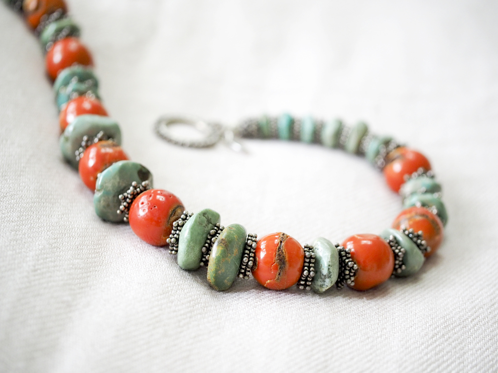 86516f746b5221 A Madagascar turquoise necklace to notice, with coral and silver ...