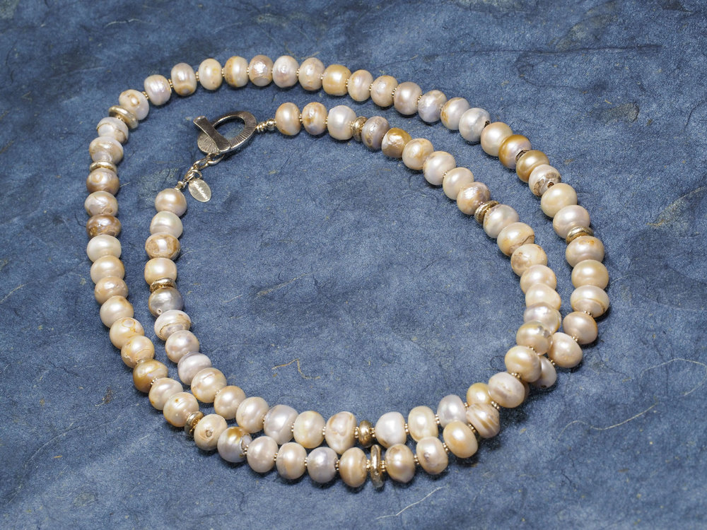 Wild pearl & sterling silver necklace