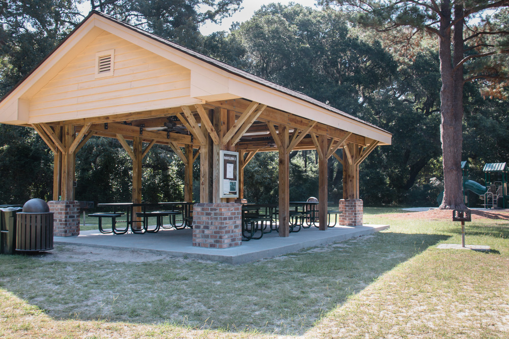pavilion 2 is farthest from the restrooms and lake area, but closest to the secondary playground