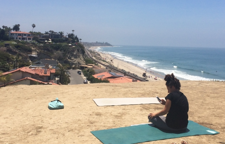 My friend Joelle getting the camera ready for some Acroyoga playtime at our favorite spot! Beautiful San Clemente, California.